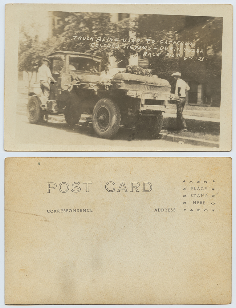 Title: Truck Being Used to Gather up Colored Victims - During Tulsa Race Riot, 6-1-21 Creator: Unknown Date: June 1, 1921 Place: Greenwood District, Tulsa, Oklahoma Part Of: http://digitalcollections.smu.edu/cdm/search/collection/nam/searchterm/Ag2013.0002