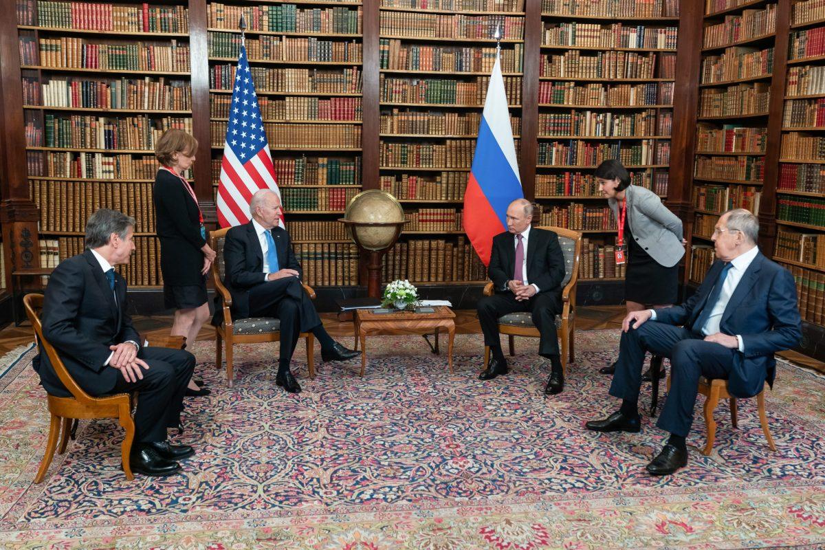 President Joe Biden and Russian President Vladimir Putin participate in a tete-a-tete during a U.S.-Russia Summit on Wednesday, June 16, 2021, at the Villa La Grange in Geneva. (Official White House Photo by Adam Schultz)