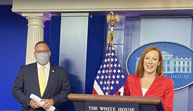 US Secretary of Education Miguel Cardona joins Jen Psaki at the Press Briefing.