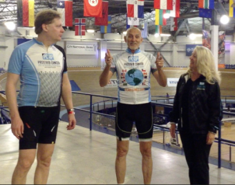 PCAP Founder and President Robert Warren Hess finishes his 24,901.6 mile bicycle ride and earns his Around the World Cycling Jersey