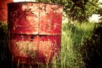red trash can