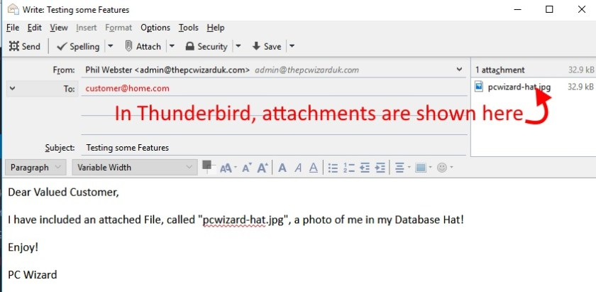 An email, with an attachment