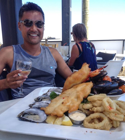 Photo 5. Enjoying some great Australian seafood in Perth