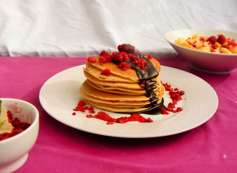 School holidays are great for relaxed family breakfasts & These Perfect Vegan Vanilla Pancakes have a delicate vanilla flavour thanks to the vanilla bean paste.  They go well with a lot of toppings but a lime & ginger melon salad is a definite favourite around here!  These Vegan Vanilla Pancakes are soyfree as well as containing no dairy or eggs!