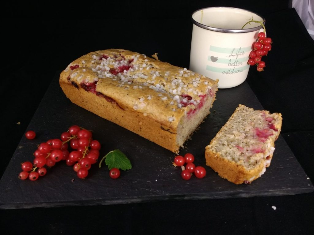 Beautiful sharp redcurrants paired with the subtle sour note from the dairyfree yoghurt and a sweet crunchy pearl sugar topping make this Vegan Redcurrant & Yoghurt Loaf perfect for any time of the day. Quick to make its a great Dairyfree, Eggfree Lunchbox Lifesaver and a very yummy way to use up a surplus of redcurrants from No17!