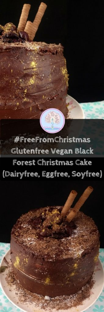 #FreeFromChristmas: Glutenfree Vegan Black Forest Christmas Cake. Dark chocolate cake filled with rich vanilla buttercream and layers of dark cherry syrup. Perfect alternative Christmas Cake for anyone who doesn't like a traditional fruit cake! And its dairyfree, eggfree too!