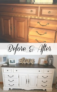 Before and After Refurbished Dresser with homemade chalk finish paint recipe