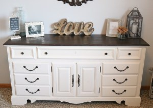 Before and After Dresser using homemade chalk finish paint and stain