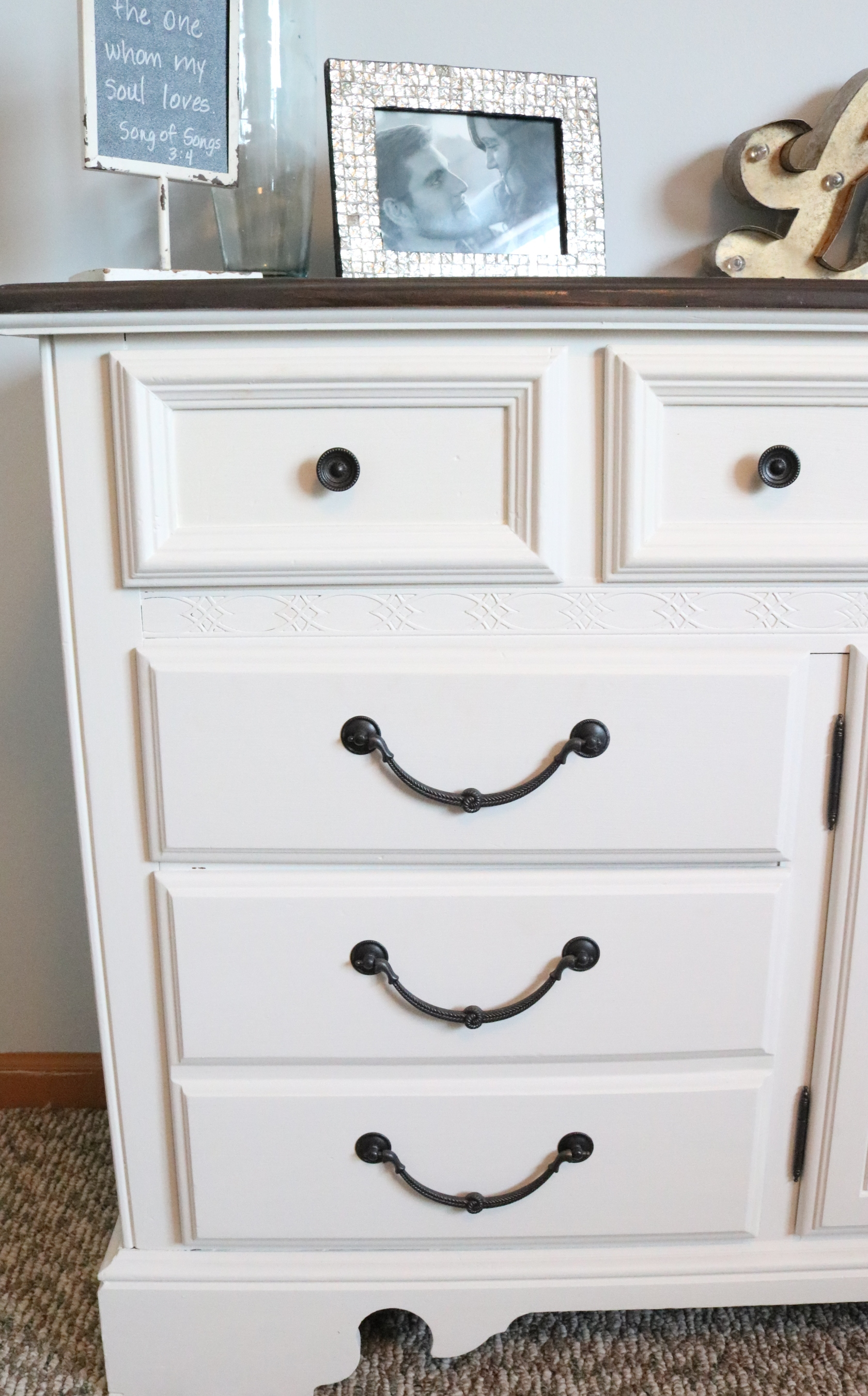 Refurbished dresser using homemade chalk finish paint