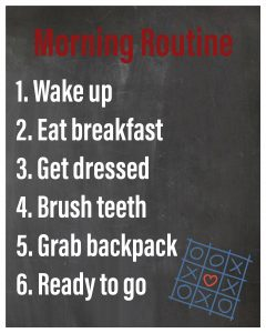 Morning routines list