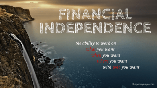 Definition of Financial Independence: The ability to work on what you want, when you want, where you want, with who you want.