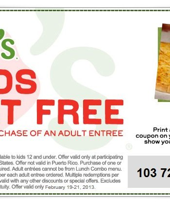 Chili's free kids meal coupon