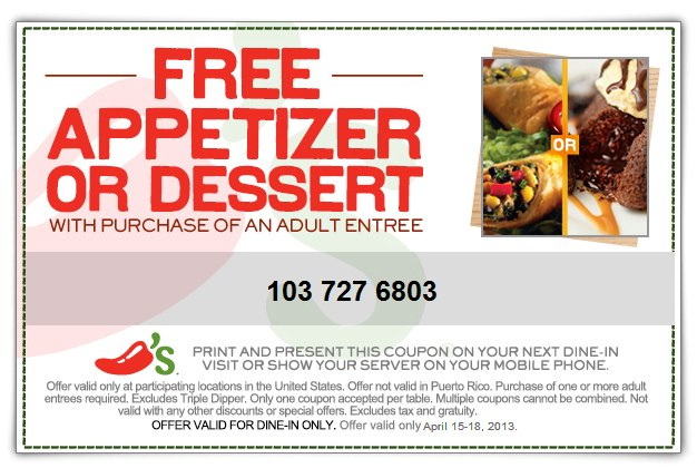 image relating to Chilis Printable Menu titled Chilis: No cost Appetizer or Dessert With Entree Buy