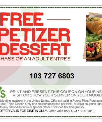 chili's appetizer dessert coupon