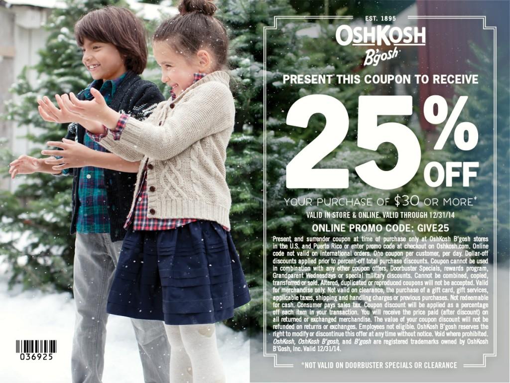 photo regarding Oshkosh Printable Coupon named OshKosh Bgosh 25% Off Coupon #GiveHappy - The PennyWiseMama