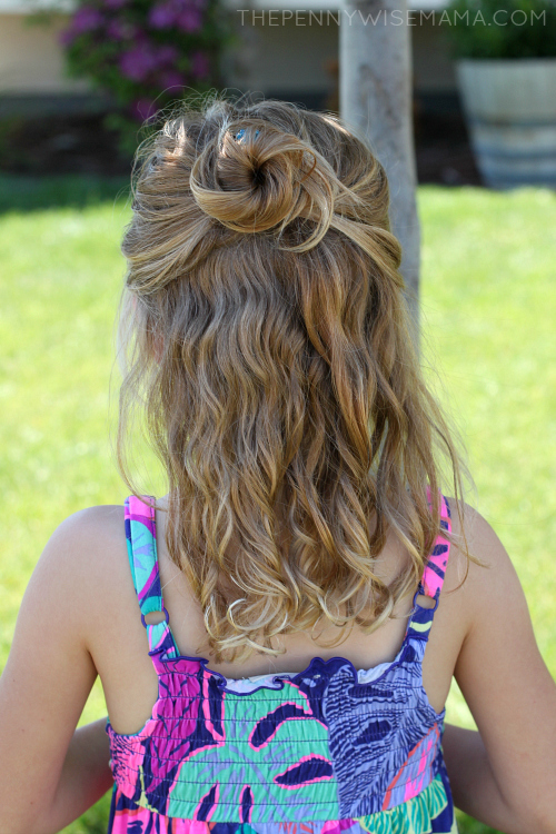 Pretty Hairstyle for Curly Hair: Half of Hair Pulled Up in Loose Bun