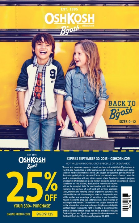 OshKosh Coupon Fall 2015