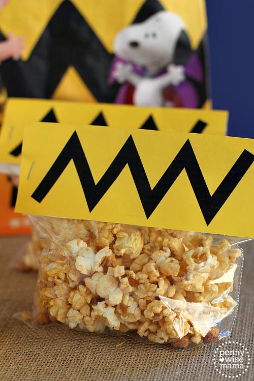 Charlie Brown Popcorn Treat Bags + free printable