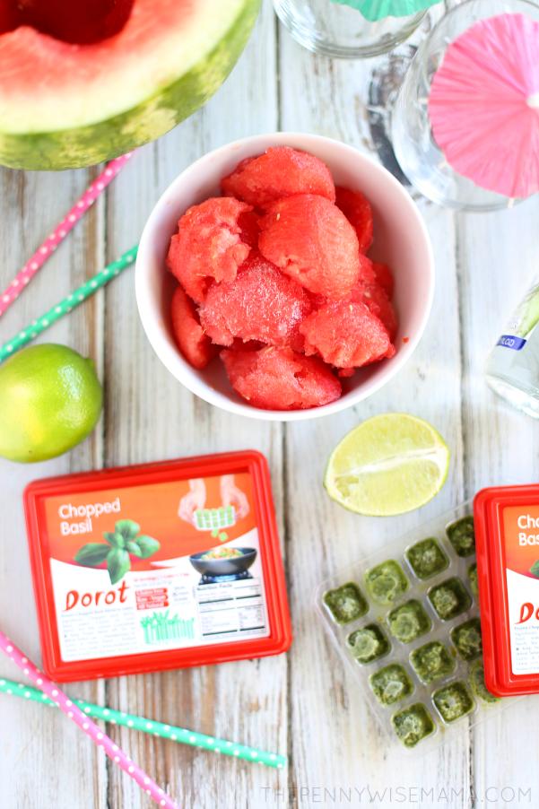 Watermelon Slushie Recipe with Dorot Basil