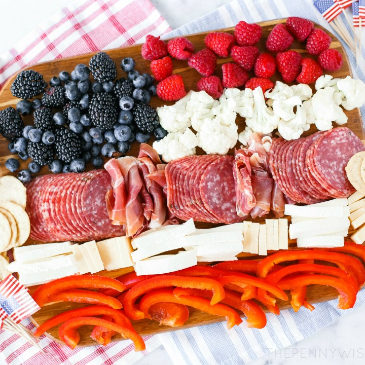 Patriotic Charcuterie Board - An American Flag Appetizer