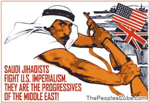 Saudi Jihadists fight US imperialism cartoon
