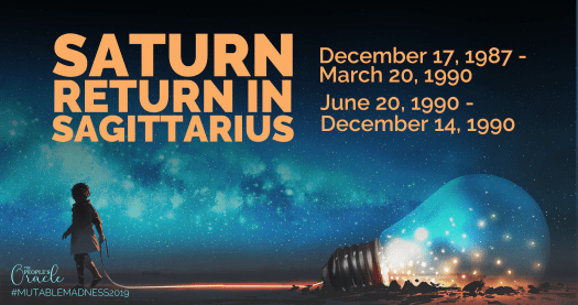 You are having your Saturn Return in Sagittarius if you were born between December 17, 1987 and March 20, 1990, then between June 20, 1990 and December 14, 1990.