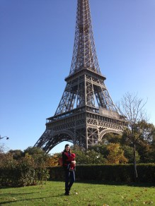 babywearing at the Eiffel Tower!