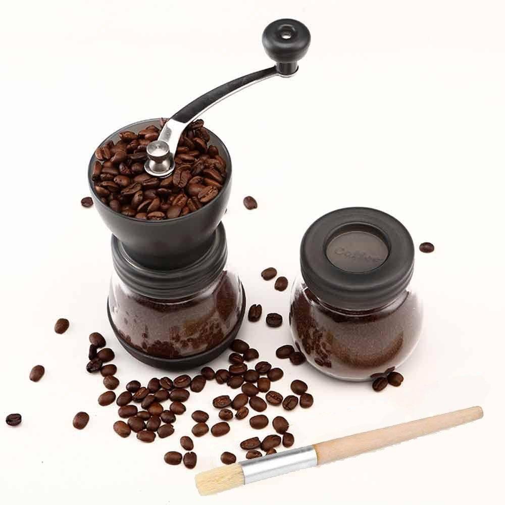 Cooko Manual Coffee Grinder, Premium Ceramic Burr Hand Crank Grinder