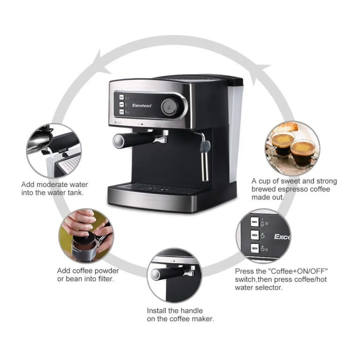 Excelvan 15 Bar Pump Espresso Italian Style Coffee Machine