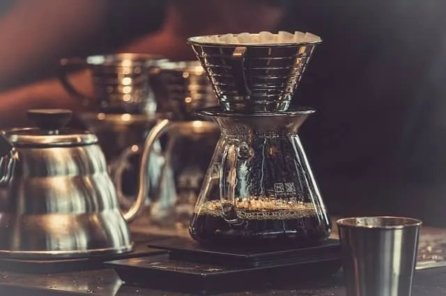 making coffee with water and coffee