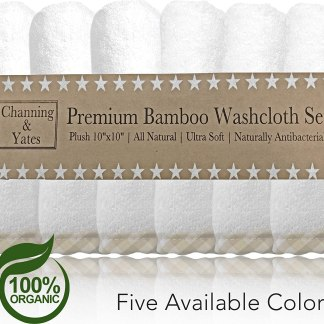 Channing & Yates Premium Baby Washcloths - (6 Pack) Certified Organic Baby Wash Cloths Soft Bamboo Face Towels - 10 x 10in - Bath Washcloths Eczema - Adult Washcloths (Beige/White)