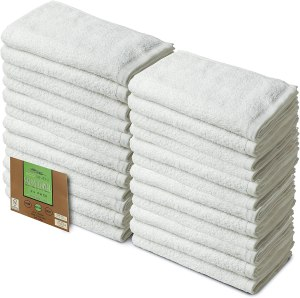 Eco Linen Cotton Salon Towels - Gym Towel Hand Towel - (24-Pack, White) - 16 x 26 inches - Organic Cotton, Maximum Softness and Absorbency, Easy Care