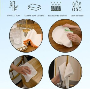 100% Bamboo Kitchen Dish Cloths,White Washcloths Dish Towels,Dish Rags(12 x 12 Inch), Ultra Absorbent Better Than Cotton (White-1 Pack)