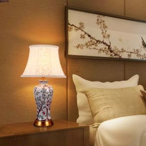 High temperature firing blue and white ceramic table lamps for home