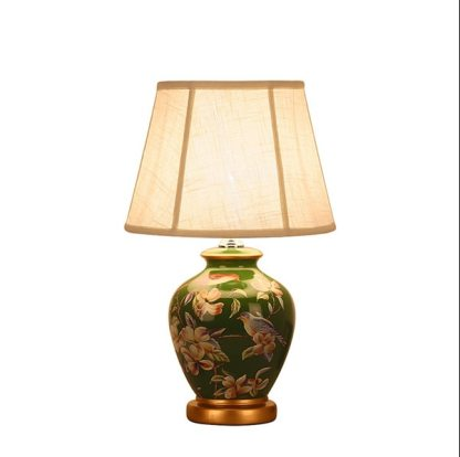 Chinese rural green flower&bird ceramic Table Lamps traditional Dimmer/Touch switch fabric E27 LED lamp for bedside&foyer MF016