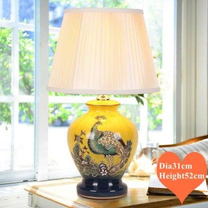 Chinese style yellow phoenix bird ceramic Table Lamps Elegant gleam cloth lampshade E27 LED lamp for bedside&foyer&studio MF023