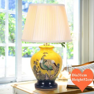 Chinese style yellow phoenix bird ceramic Table Lamps Elegant gleam cloth lampshade E27 LED lamp for bedside&foyer&studio MF023