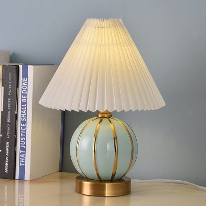 Round Ball Golden Edge Ceramic Table Lamp Japanese Style Vintage Bedside Lamp For Bedroom Night Light Dimming Remote Control
