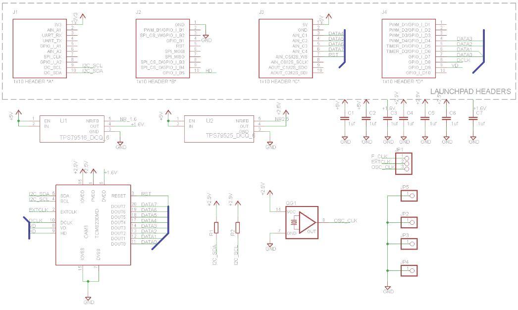 Camera module for Tiva TM4C controller