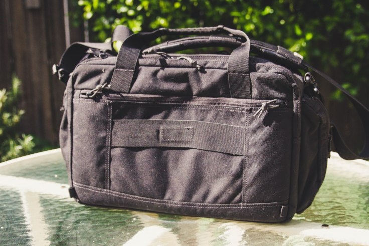 First Tactical Executive Briefcase rear shot luggage passthrough