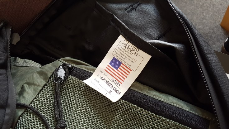 Mystery Ranch 1 Day Assault Pack 1DAP review backpack made in USA tag serial number interior label