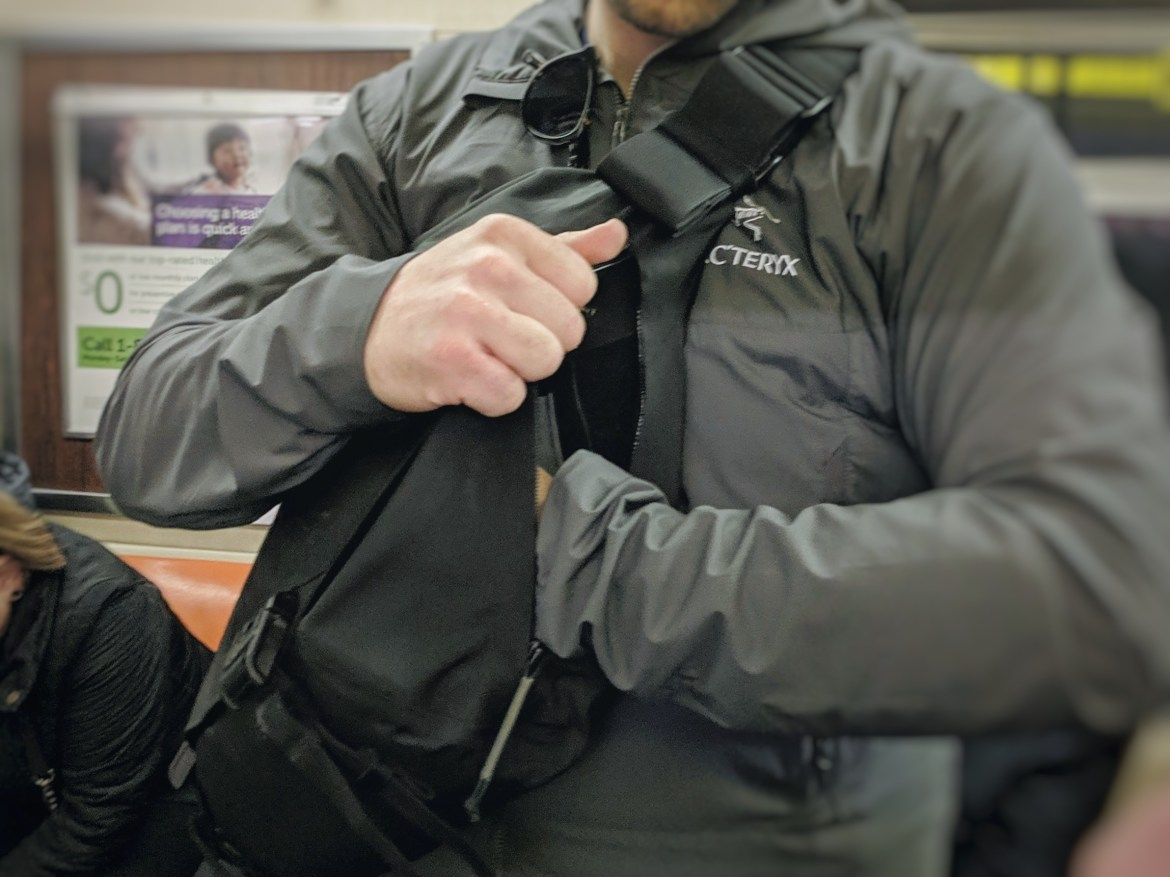 Arcteryx Leaf Courier 15 messenger bag review side zippers on body access