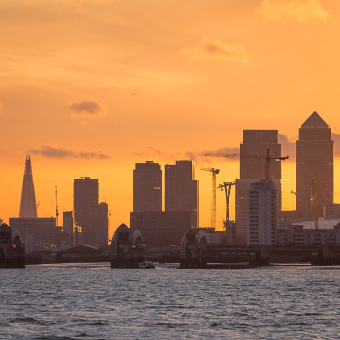 Thames Barrier and central London from Woolwich
