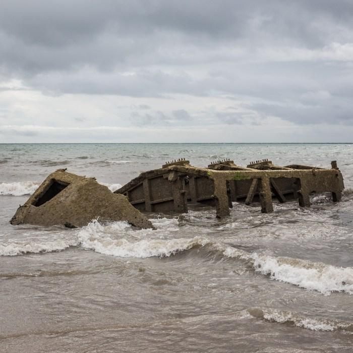 Wreck of WW2 Mulberry Harbour pontoon, Bognor Regis, Sussex.