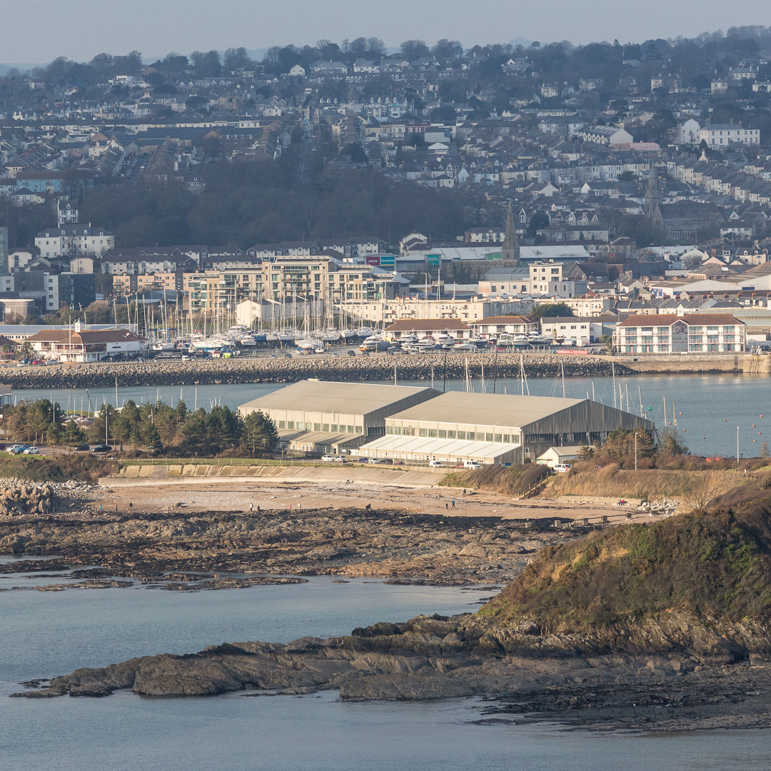 Plymouth and the Mount Batten boathouse, Devon.