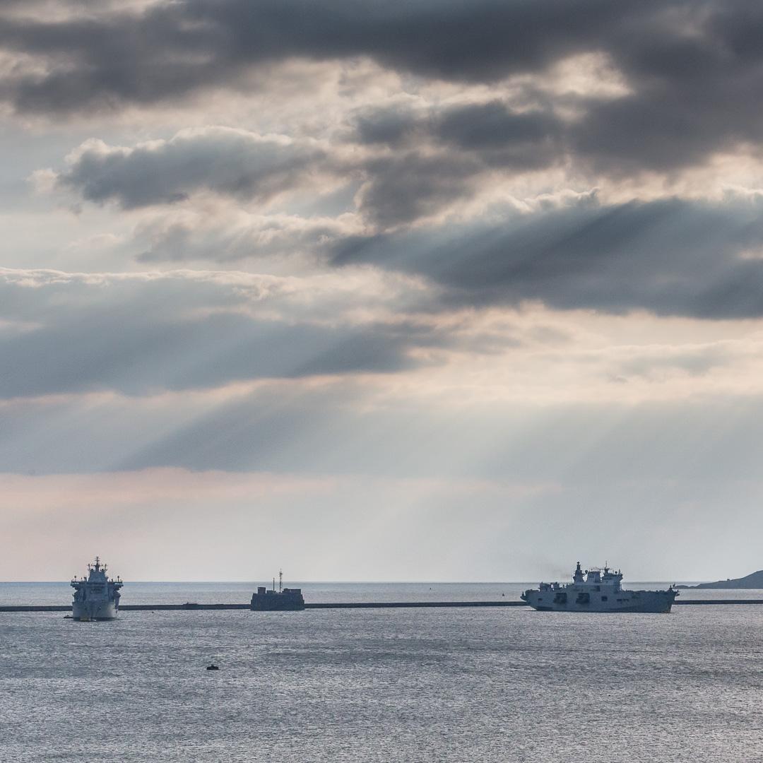 RFA Wave Knight, Breakwater Fort & HMS Ocean by Plymouth Breakwater, Devon.