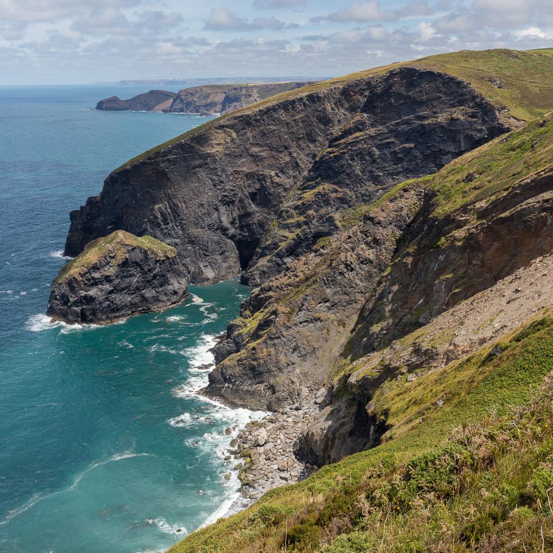 Gull Rock and Buckator cliff, Cornwall.