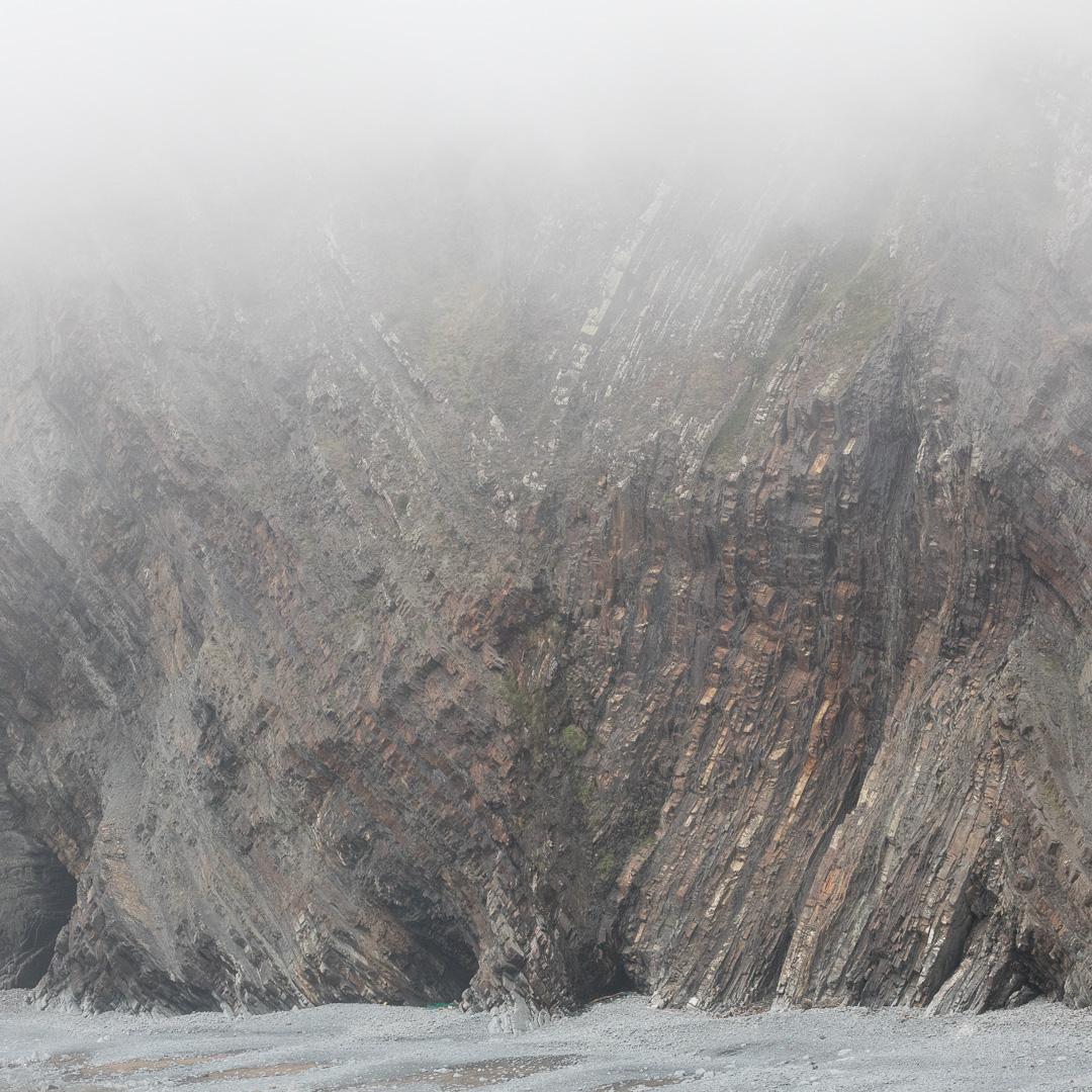 Warren Cliff in Mist from Hartland Quay, Devon.