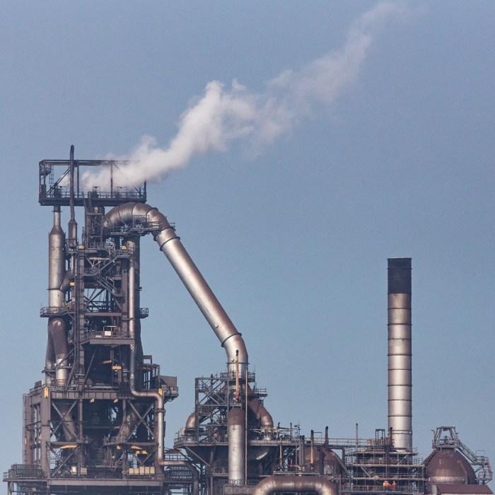 No.5 Blast furnace & hot air stoves, Tata Steelworks, Port Talbot, Glamorgan.
