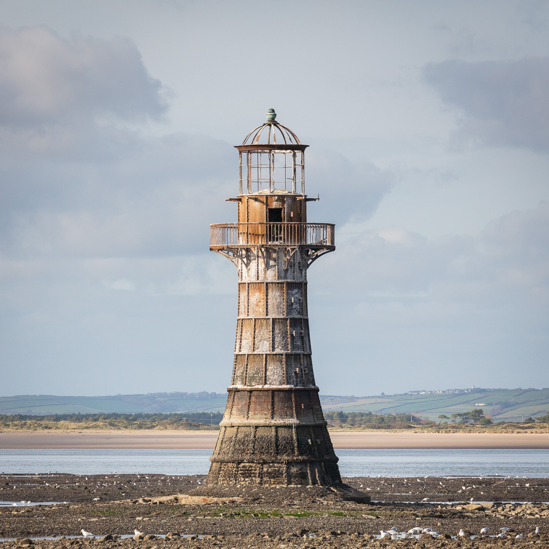 Whiteford Point Lighthouse III, a cast-iron lighthouse built in 1865 to a design by John Bowen, Gower, Glamorgan.